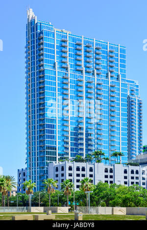 The SkyPoint Condominium's 33 floors of glass and sleek design are now a distinctive landmark in the arts district - Stock Photo