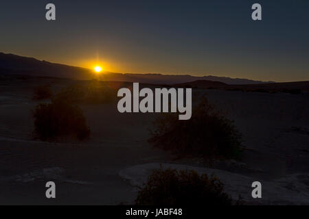 sunrise, Mesquite Flat Sand Dunes, Death Valley National Park, Death Valley, California - Stock Photo