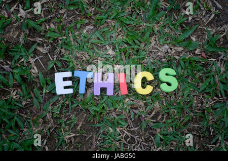 word ethics spell using colorful alphabets block. - Stock Photo