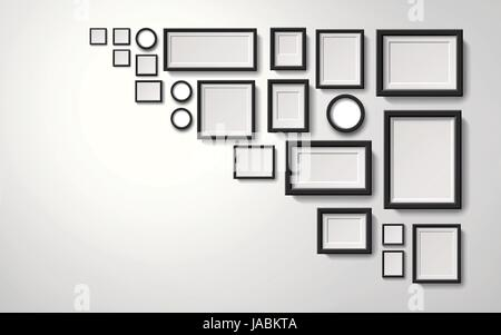 Several types picture frames decoration hanging on the wall, 3d illustration realistic style - Stock Photo