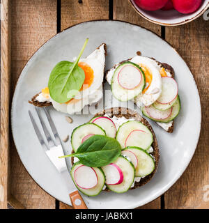Fresh healthy toasts on plate. Top view of toasts with radish, cucumber, goat cheese, boiled egg and spinach. Square - Stock Photo