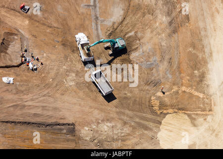 Aerial view of an industry under construction. - Stock Photo