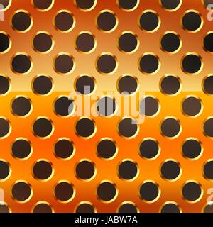 Glossy copper metal grid with round holes on black, seamless pattern - Stock Photo