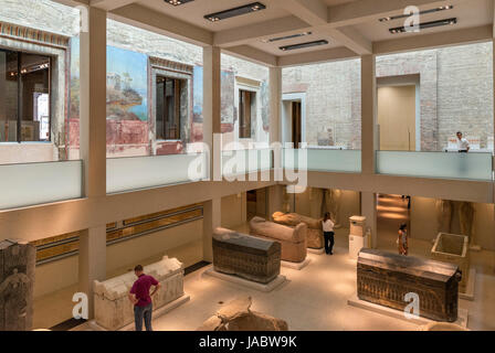 Egyptian display in the Neues Museum, Museum Island (Museuminsel), Berlin, Germany - Stock Photo