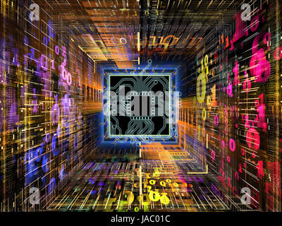 Number Tunnel series. Composition of CPU chip, colorful numbers and fractal elements in perspective with metaphorical - Stock Photo