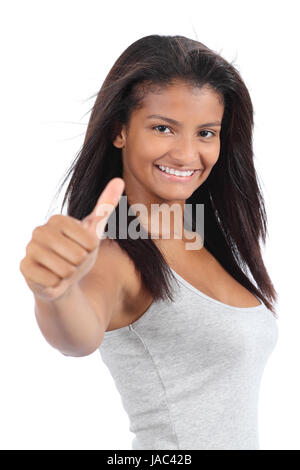 Beautiful colombian teenager girl gesturing thumb up isolated on a white background - Stock Photo