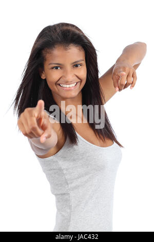 Beautiful happy african american teenager girl isolated on a white background