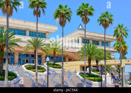 View of the unique pale pink with blue columns at the Tampa Convention Center building along the waterfront of the Hillsborough River in Tampa, FL Stock Photo