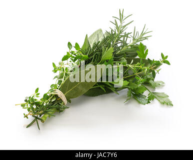 fresh bouquet garni, bunch of herbs isolated on white background - Stock Photo