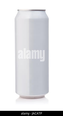 Front view of white aluminum can isolated on white - Stock Photo