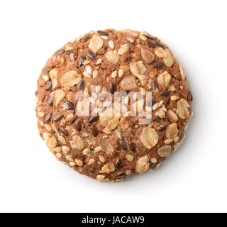Top view of multigrain cookie isolated on white - Stock Photo