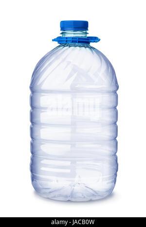 Empty plastic water bottle  isolated on white - Stock Photo