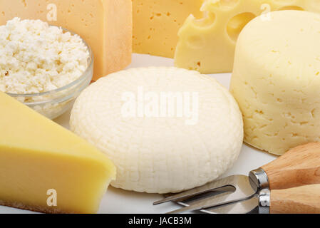 Clos up of various types of cheese - Stock Photo