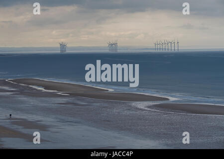27 EDF Energy turbines generating renewable energy & supplying electricity at Teesside offshore wind farm, North - Stock Photo