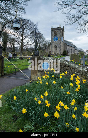 Springtime evening view of gateway entrance, daffodils in churchyard & historic, picturesque St Peter's Church  - Stock Photo