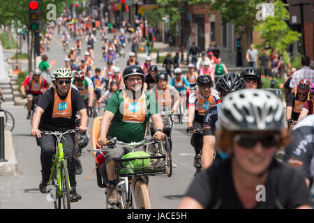 Montreal, Canada - 4 June 2017: Many cyclists take part in Montreal 'Tour de L'île' 2017 - Stock Photo