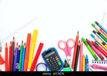 School supplies on white background - space for caption - Stock Photo