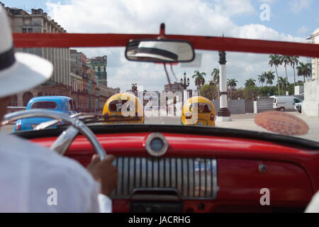 Ride in old american car in Havana, Cuba - Stock Photo
