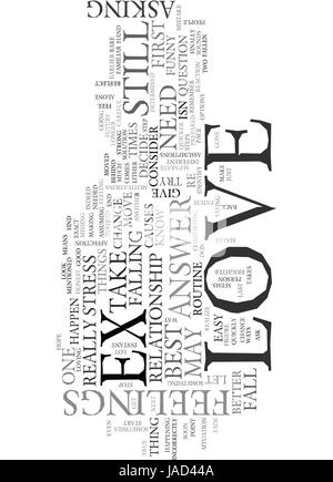 WHY AM I STILL IN LOVE MY EX MAY NOT LOVE ME TEXT WORD CLOUD CONCEPT - Stock Photo