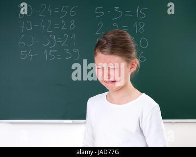 Weinen, Träne, Schulstress, Schulangst, Prüfungsstress, Mobbing, Buren-out, Leistungsdruck, Überfordert, Überforderung, - Stock Photo