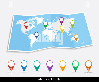 World map with geo position pins travel elements composition. EPS10 vector file organized in layers for easy editing. - Stock Photo