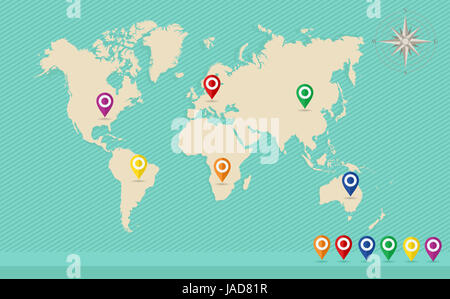 World map with geo position pins and wind rose travel elements composition. EPS10 vector file organized in layers - Stock Photo