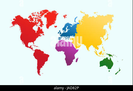 World map, colorful continents Atlas illustration. EPS10 vector file organized in layersa for easy editing. - Stock Photo
