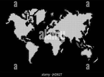 World map, white dots atlas composition. EPS10 vector file organized in layers for easy editing. - Stock Photo