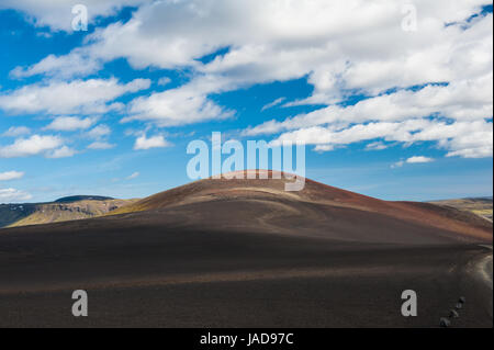 Panoramic landscape at Lakagigar, volcanic area with approx. 130 craters around the volcano Laki, southern Iceland - Stock Photo
