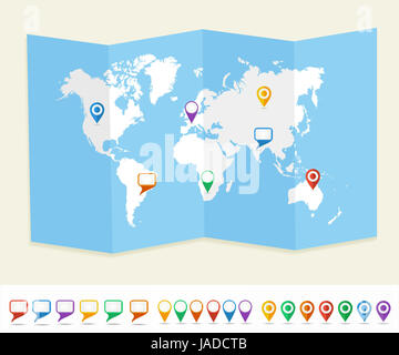 World map with GPS location pins and social media speech bubbles travel Earth brochure. EPS10 vector file organized - Stock Photo