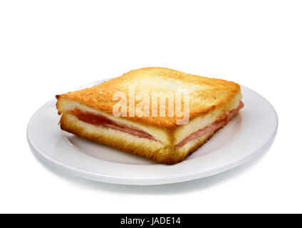 Sanwich ham&cheese on white plate - Stock Photo