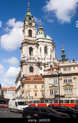 The stunning Baroque Saint Nicholas Church in the Malá Strana district of Prague - Stock Photo