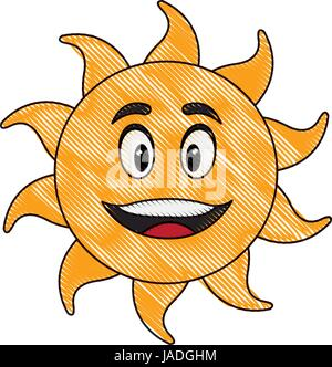 cute hand drawn smiling cartoon character of sun - Stock Photo