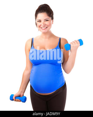Happy pregnant woman do exercise, isolated on white background, lifting dumbbells, active lifestyle, healthy pregnancy - Stock Photo