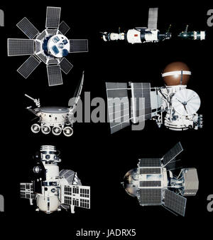 Old Russian Spaceships Isolated on Black Background - Stock Photo