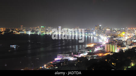 Panorama of Pattaya at night. Pattaya is a most popular tourist destination in Thailand - Stock Photo