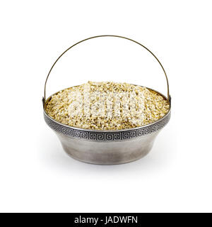 Raw dry Barley in sulver bowl isolated on white - Stock Photo