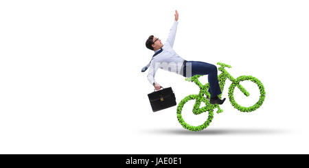 Green bycycle in environmentally friendly transportation concept - Stock Photo