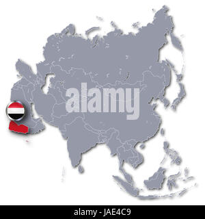 asia map with yemen - Stock Photo