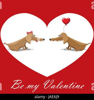 Valentine's Day, dog with balloons, postcard text be my valentine. - Stock Photo