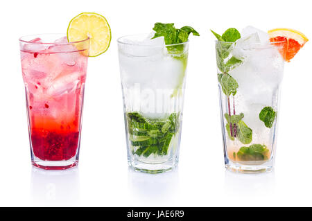 Set of cocktails with gin tonic on white isolated background - Stock Photo