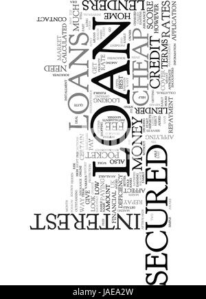 A PERFECT MATCH FOR YOUR POCKET CHEAP SECURED LOANS TEXT WORD CLOUD CONCEPT - Stock Photo