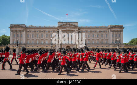 3rd June 2017. 1st Battalion Irish Guards march past Buckingham Palace during the Major General's Review, Trooping - Stock Photo