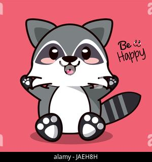 color background with cute kawaii animal raccoon expression happiness - Stock Photo