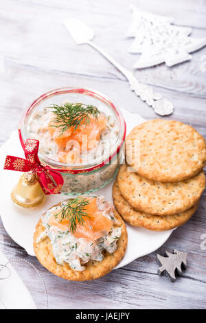 Smoked salmon, soft cheese and dill spread - Stock Photo