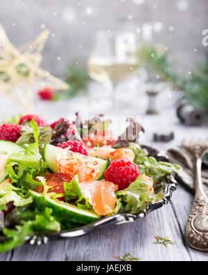 Fresh salad with smoked salmon - Stock Photo