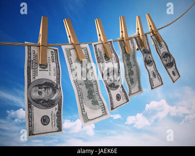 Money laundring concept with dollars hanging on the rope. 3D rendered illustration - Stock Photo