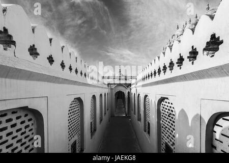Beautiful Black and White Corridors of Hawa Mahal Palace (Palace of Winds) in Jaipur, Rajasthan - Stock Photo