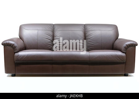 Brown and luxury leather sofa on a white background - Stock Photo