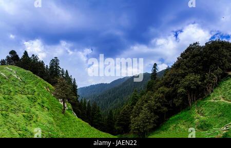 Glorious panoramic view of beautiful landscape of Janjheli valley near Shikari Devi Temple (The Hunter Goddess) - Stock Photo
